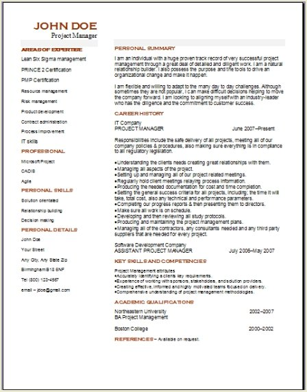 sample pmp resumes