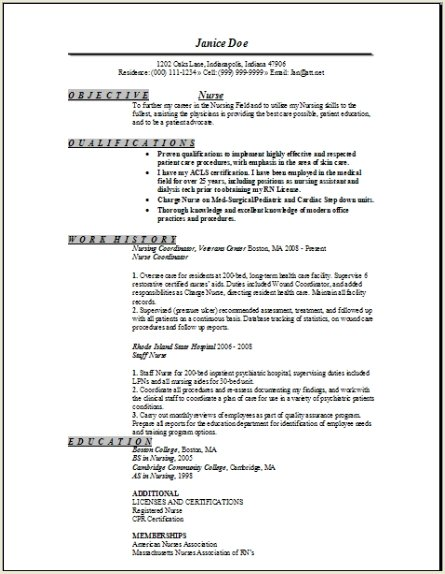Registered Nurse Resume Sample, Occupationalexamples,samples Free - sample resume for a nurse