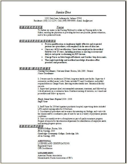 sample cover letter for nurse resumes