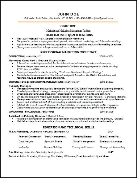 Resume Templates For A Job