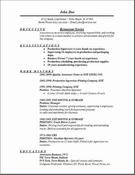 restaurant service resume template