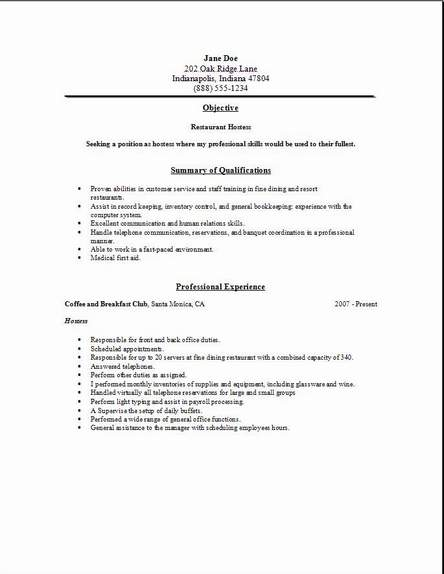 resume for a restaurant job ~ Gopitch.co