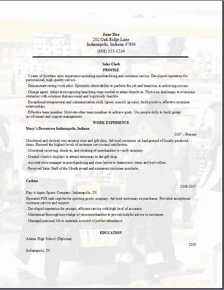 resume for second job templates