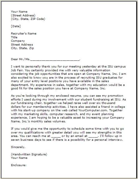job fair cover letter sample