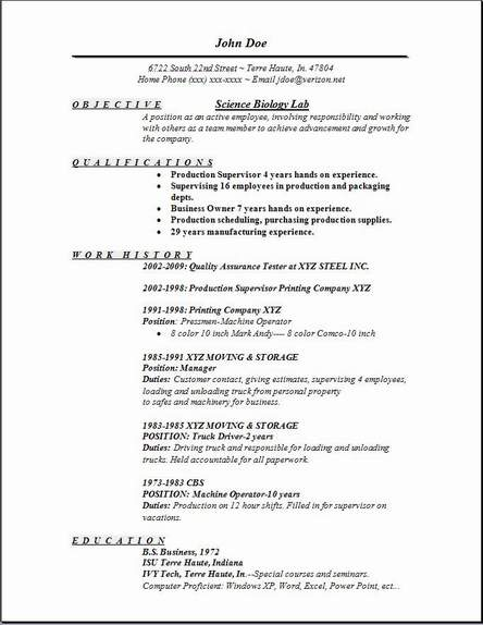 biology resume templates - Trisamoorddiner