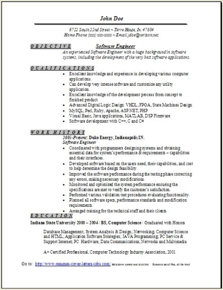 Software Engineer Resume Sample, Occupationalexamples,samples Free