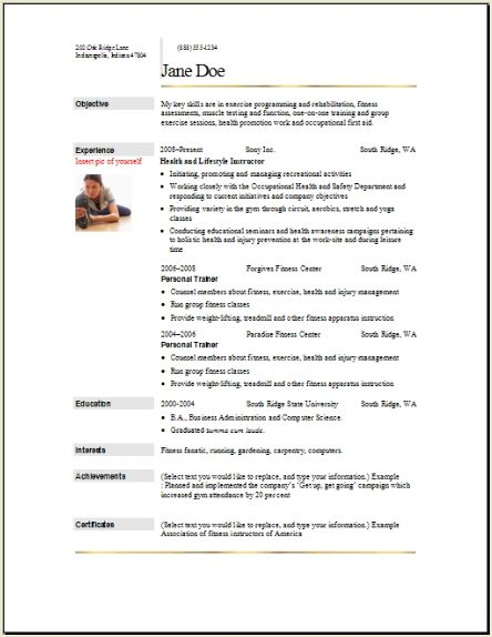 Sports Fitness Resume, Occupationalexamples,samples Free edit with word - resort personal trainer sample resume