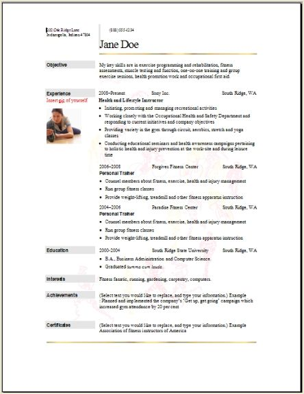 Sample Resume For Fitness - A Good Resume Example \u2022