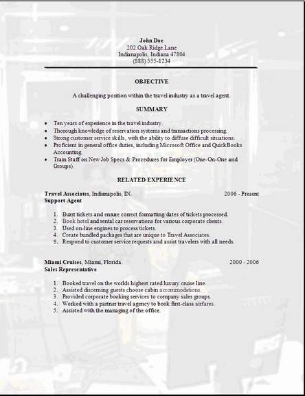 Travel Agent Resume, Occupationalexamples,samples Free edit with word - booking agent resume
