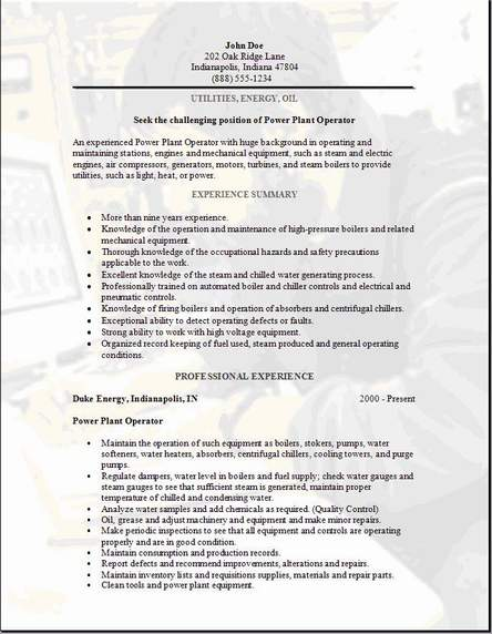 Utilities Energy Oil Resumeexamples,samples Free edit with word - boiler plant operator sample resume