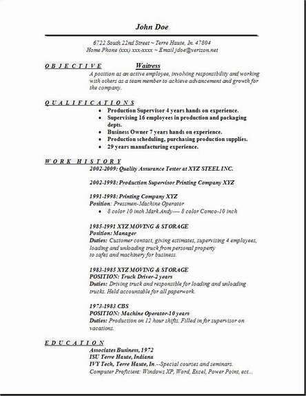 resume for waitress - Goalgoodwinmetals - description of waitress duties for resume