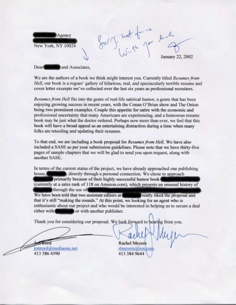 Resumes from Hell - Rejection Letters from Book Agents - for our