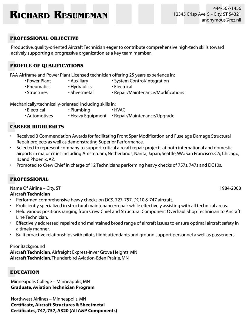 Aircraft Mechanic Resume Samples Aircraft Mechanic Resumes Samples ...