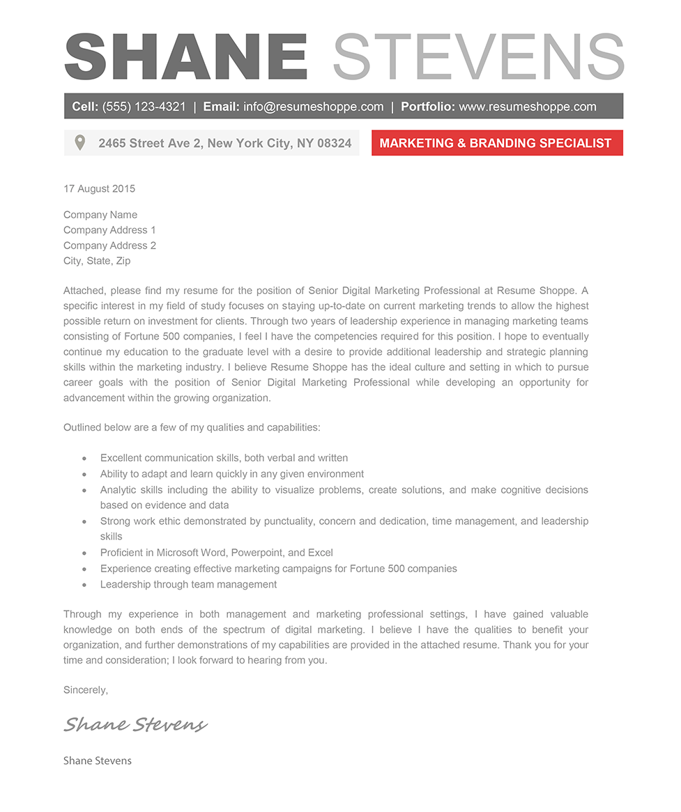 modern resume cover letters