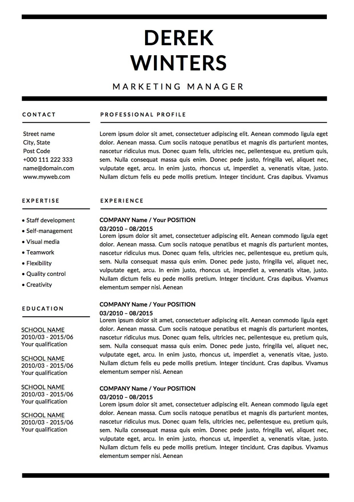 resume sections order