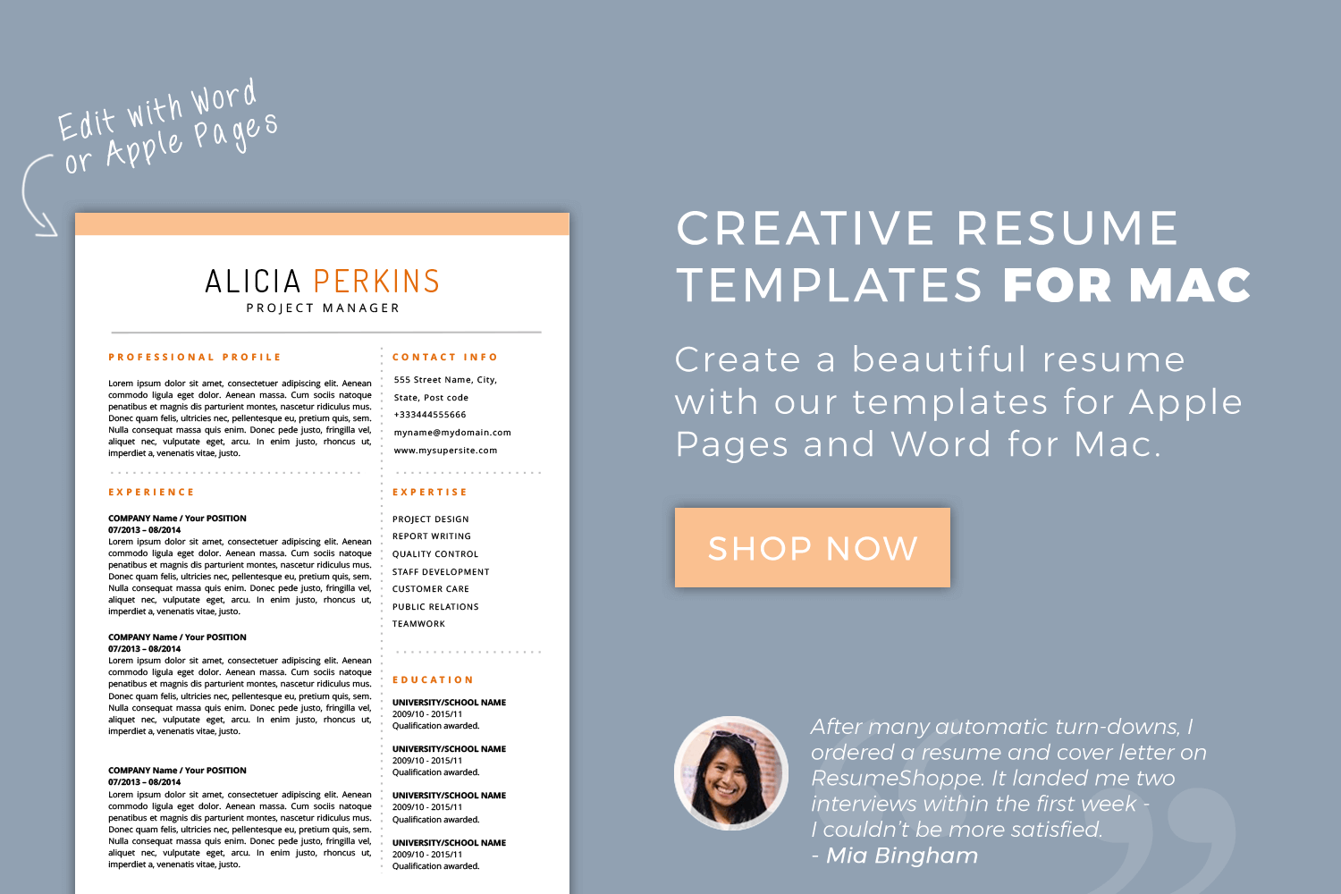 download resume templates mac pages