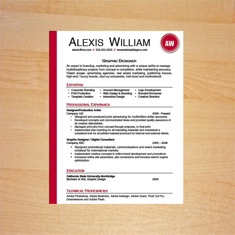 Graphic Designer Resume Template - Resume Template Guru - graphic designer resume template