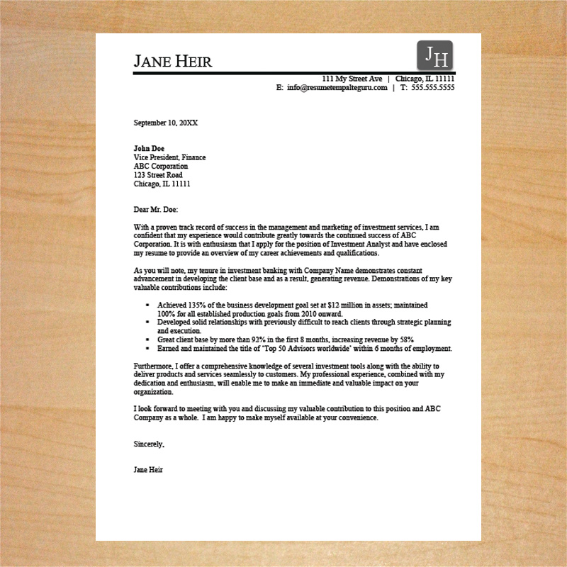 Sales Cover Letter Template - Professional Resume Cover Letter Template