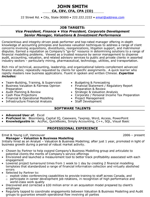 Example Financial Advisor Resume Free Sample Update Job Application - finance resumes