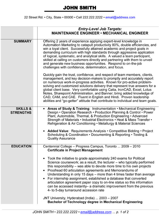 resume templates mechanical technician