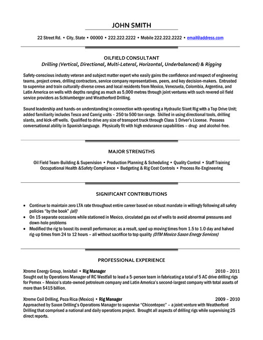 oilfield consultant resume template