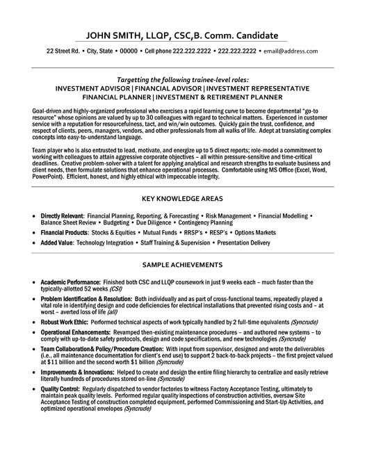 sample resume for financial advisor position