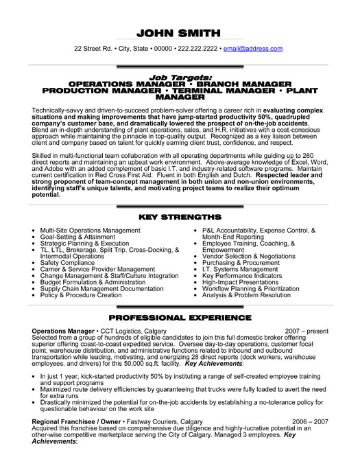 operations manager resume sample doc
