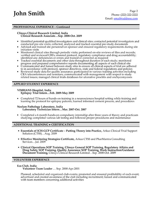 Entry Level Clinical Research Associate Cover Letter - Resume ...