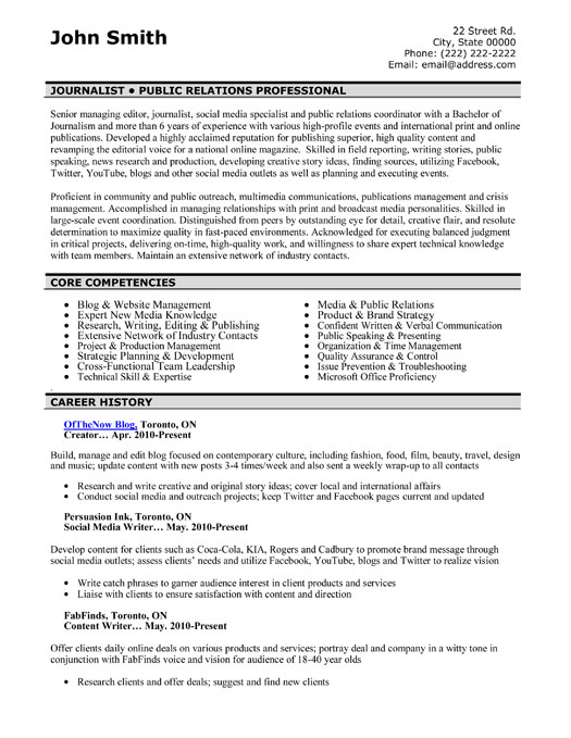 cover letter for journalist resume professional resume template premium resume samples and example