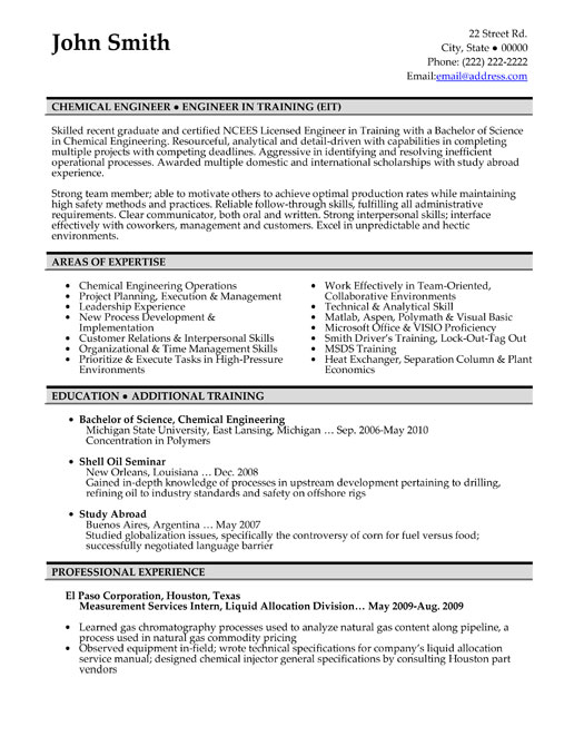 example chemical engineering resumes