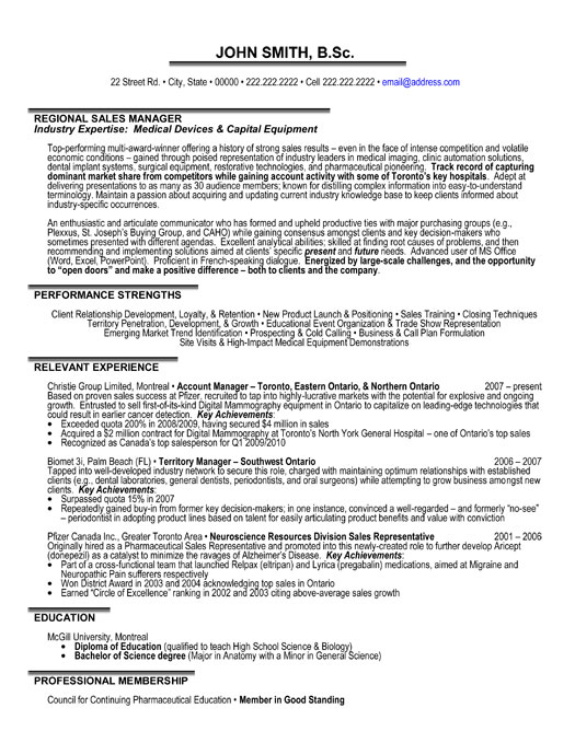 resume examples regional sales manager