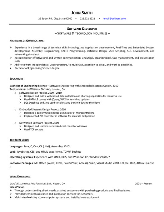 resume of information technology graduate