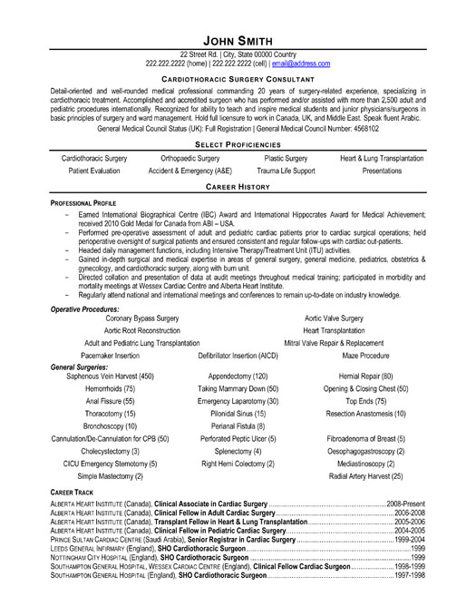 Surgeon Resume Samples And Templates Cardiothoracic Surgeon Consultant Resume Template Images