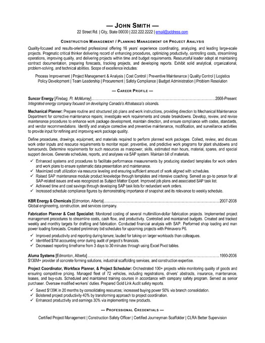 resume cover letter for construction project manager