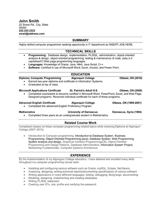 best resume template for programmer