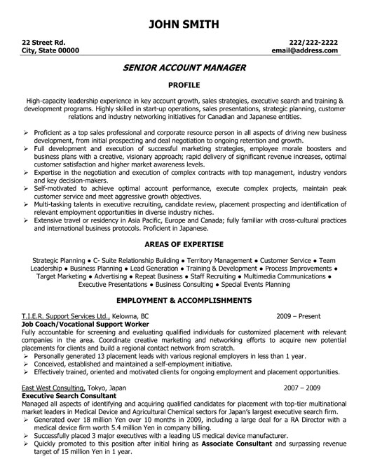 sample resume plant manager operations manager resume sample resume for an operation senior account executive resume
