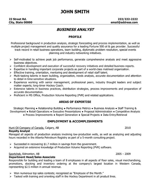Example Of Business Analyst Resume - business analyst resume summary