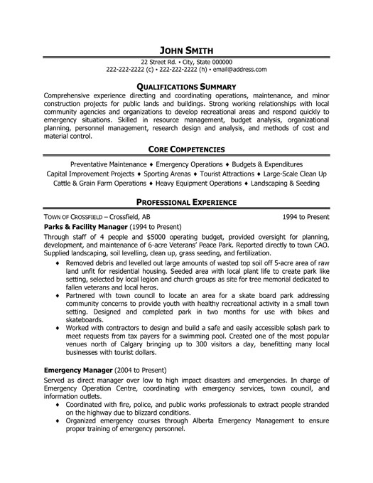 facilities maintenance manager resume sample facility maintenance manager resume sample livecareer parks and facility manager resume