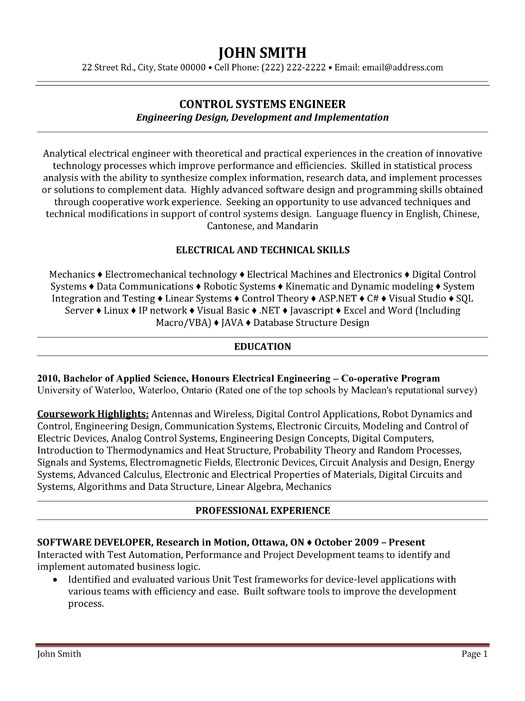 control system engineer sample resume