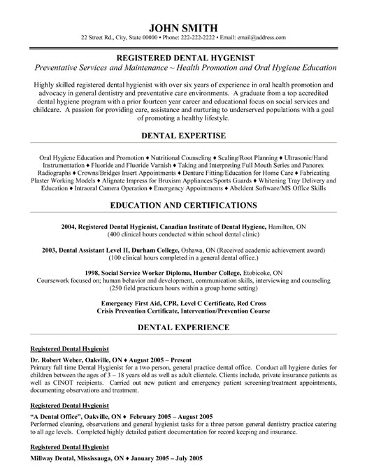 rdh resume - Idealvistalist - dental hygiene resume template