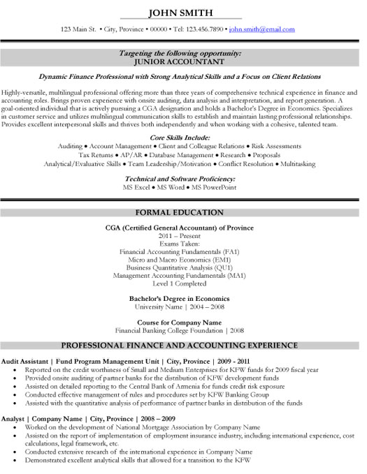 Junior Accountant Resume Template Premium Resume Samples  Example - Resume Format For Accountant