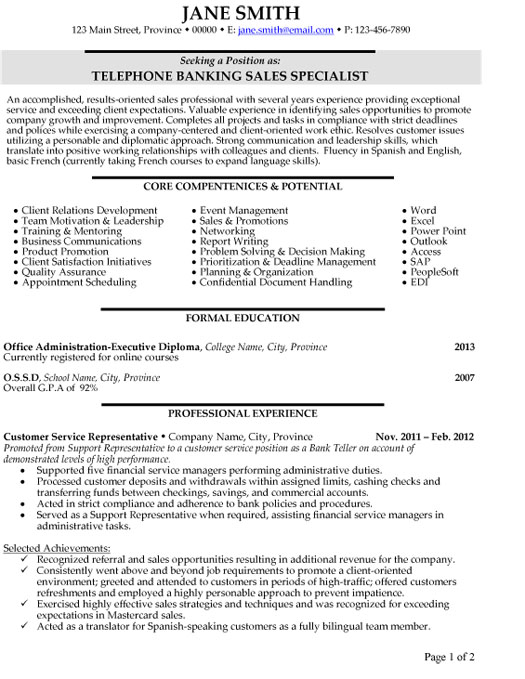 Resume Examples Free Example Resumes And Resume Templates Telephone Banking Sales Specialist Resume Template