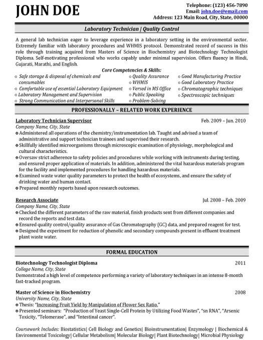 biochemistry resume sample