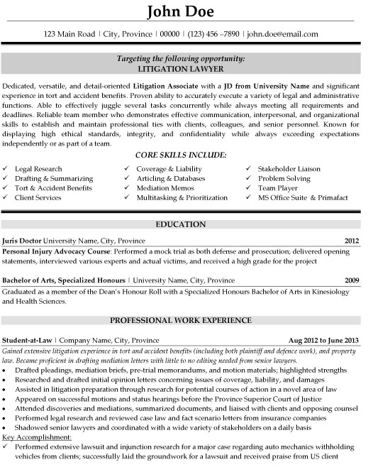 sample resume for entry level attorney