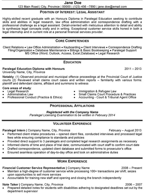 legal aid sample resume