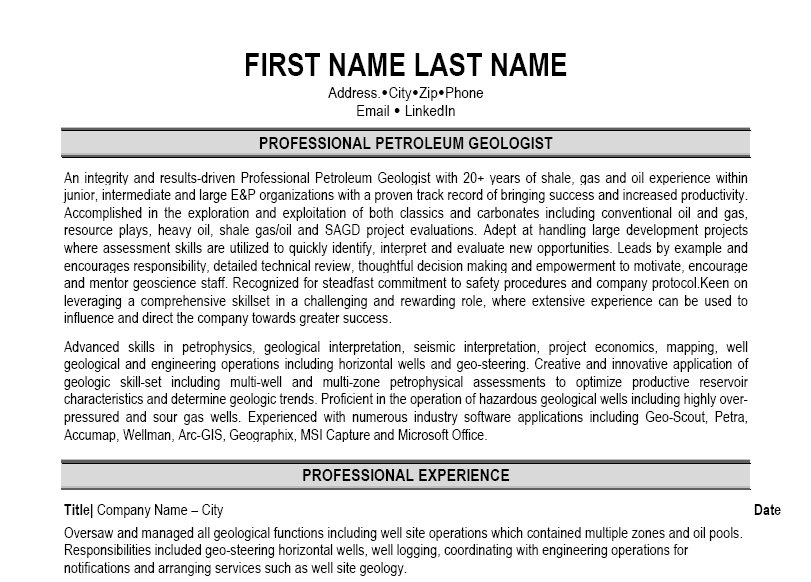 sample resume for entry level geologist
