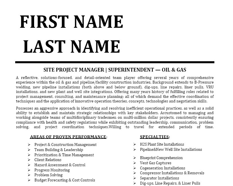 Oil And Gas Resume Format oil and gas resume template or which