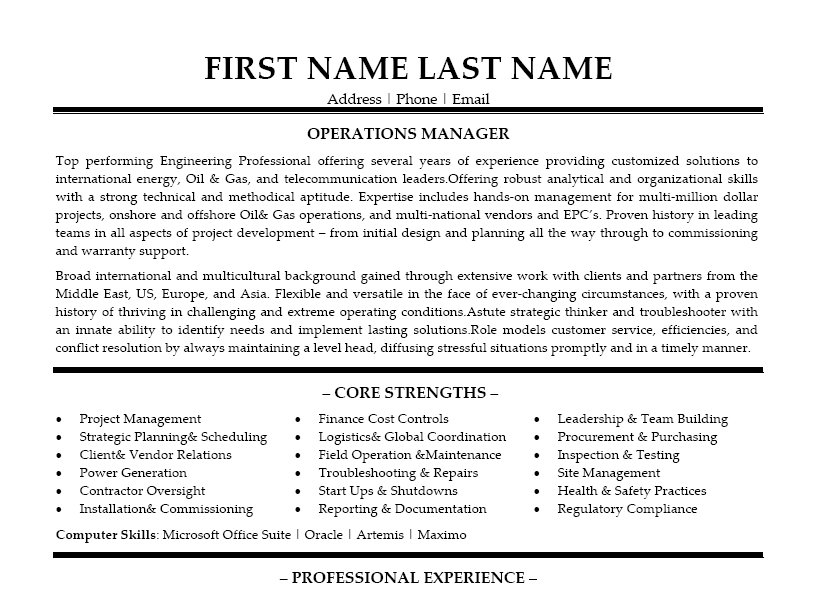 operations manager resume template - field operation manager sample resume