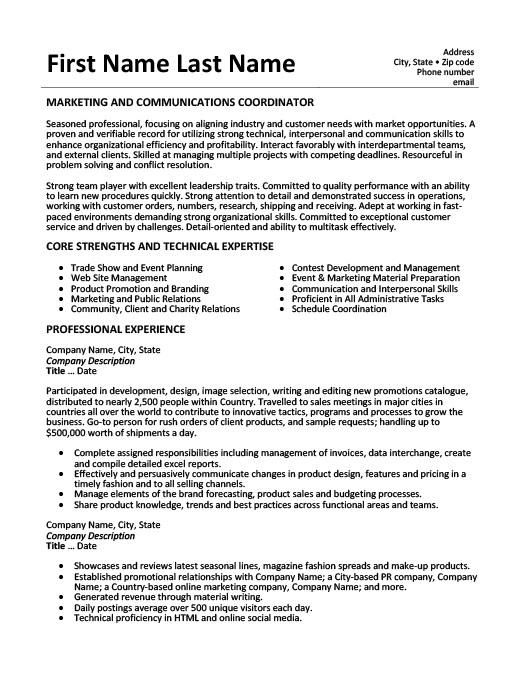 Marketing and Communications Coordinator Resume Template Premium - sales coordinator resume