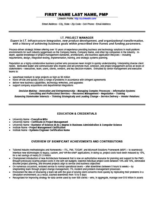 Information Technology Resume Templates, Samples  Examples Resume
